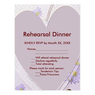 Purple Flowers, Heart, RSVP Rehearsal Dinner Pard Postcard