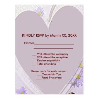 Purple Flowers, Heart, RSVP Wedding Dinner PCard Postcard