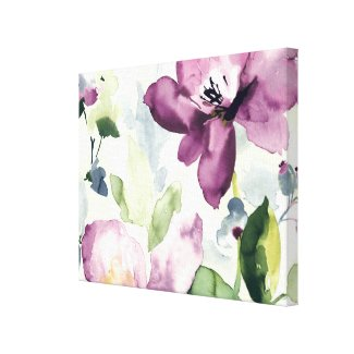 purple flowers illustration wrapped canvas print