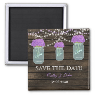 purple flowers in a mason jar save the Date 2 Inch Square Magnet