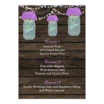 purple flowers in a mason jar wedding menu cards