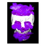 Purple Flowers In A Skull Post Card