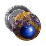 Purple flowers in Blue Vase and Gold Background Buttons