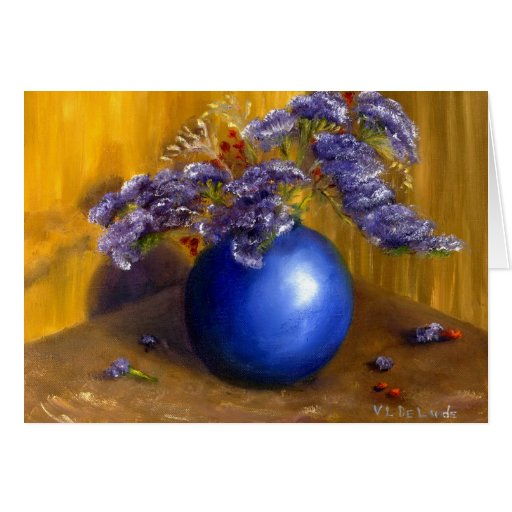 Purple flowers in Blue Vase and Gold Background Card