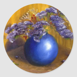 Purple flowers in Blue Vase and Gold Background Classic Round Sticker