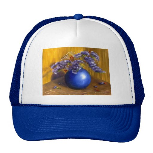 Purple flowers in Blue Vase and Gold Background Trucker Hats