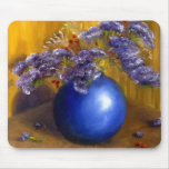 Purple flowers in Blue Vase and Gold Background Mousepads