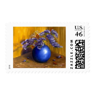 Purple flowers in Blue Vase and Gold Background Postage