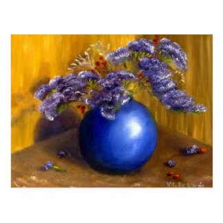 Purple flowers in Blue Vase and Gold Background Postcard