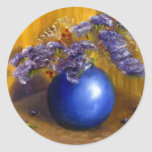 Purple flowers in Blue Vase and Gold Background Round Stickers