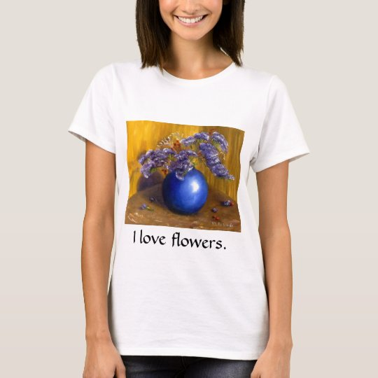 Purple flowers in Blue Vase and Gold Background T-Shirt
