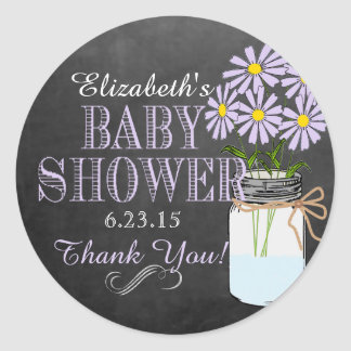 Purple Flowers in Mason Jar Baby Shower Classic Round Sticker
