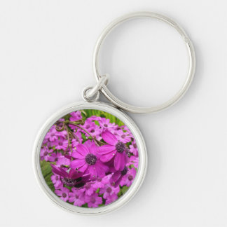 Purple Flowers in San Francisco Silver-Colored Round Keychain