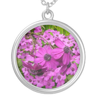 Purple Flowers in San Francisco Round Pendant Necklace