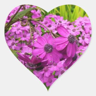 Purple Flowers in San Francisco Heart Sticker