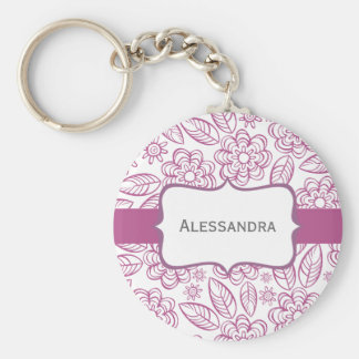 purple flowers & leaves on white with label keychain