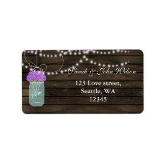 purple flowers mason jar address label