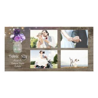 Purple Flowers Mason Jar Rustic Wedding Thank You Card