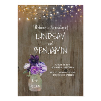 Purple Flowers Mason Jar Rustic Wedding Welcome Poster