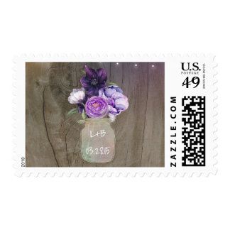 Purple Flowers Mason Jar Rustic Wood Wedding Postage