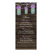 purple flowers mason jar wedding menu cards