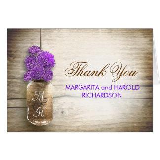 Purple flowers mason jar wedding thank you cards