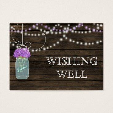 Purple Flowers Mason Jars Barn Wood Wedding Business Card