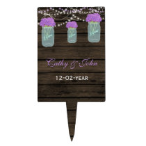 Purple Flowers Mason Jars Barn Wood Wedding Cake Topper