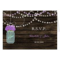 Purple Flowers Mason Jars Barn Wood Wedding Card