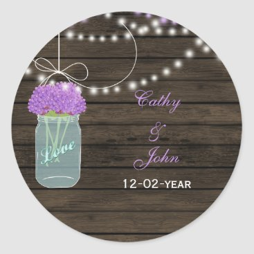 Purple Flowers Mason Jars Barn Wood Wedding Classic Round Sticker
