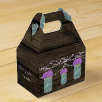 Purple Flowers Mason Jars Barn Wood Wedding Favor Box