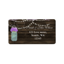 Purple Flowers Mason Jars Barn Wood Wedding Label