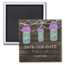 Purple Flowers Mason Jars Barn Wood Wedding Magnet