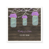 Purple Flowers Mason Jars Barn Wood Wedding Napkin