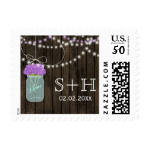 Purple Flowers Mason Jars Barn Wood Wedding Postage