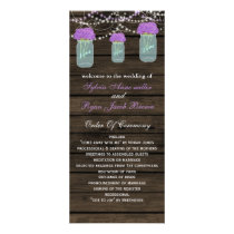 Purple Flowers Mason Jars Barn Wood Wedding Rack Card