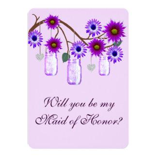 Purple Flowers Mason Jars Maid Of Honor Card