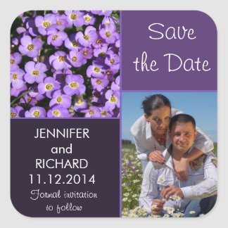 purple flowers modern save the date photo sticker