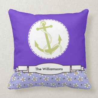 Purple Flowers Nautical Anchor Personalized Pillow