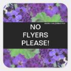 Purple Flowers No Flyers Please Sticker