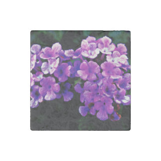 Purple Flowers On A Stone Magnet