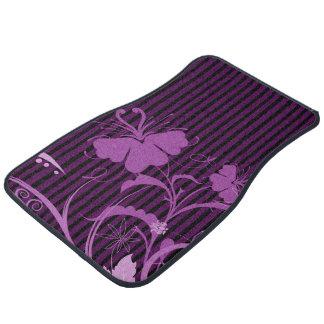 Purple Flowers on Black and Purple Stripes Car Mat