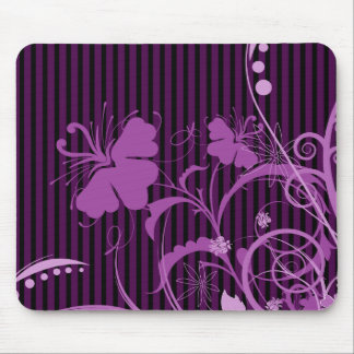 Purple Flowers on Black and Purple Stripes Mouse Pad
