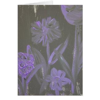 """Purple Flowers on Black"" by L. Leidig '07 Card"