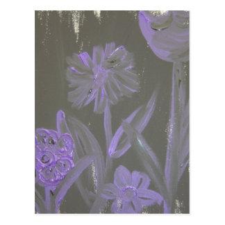"""""""Purple Flowers on Black"""" by L. Leidig '07 Postcard"""