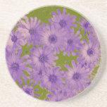 Purple Flowers on Green Drink Coasters