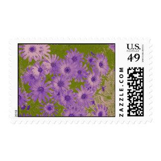 Purple Flowers on Green Postage