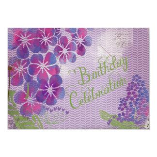 Purple Flowers on Herringbone Birthday Invite