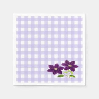 Purple Flowers on Lavender Gingham Napkin