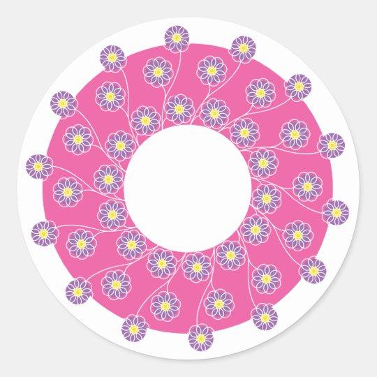 Purple Flowers On Pink Classic Round Sticker